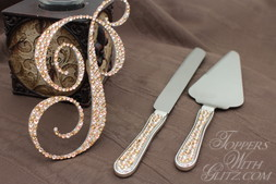 Crystal Monogram Cake Topper with Server Set