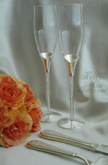 bouquet jewelry - champagne toasting flutes