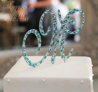Single Initial Crystal Cake Topper