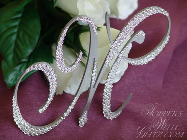 Crystal Monogram Cake Toppers Pictures