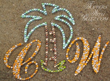 Custom cake topper shaped like palm tree with Swarovski crystals