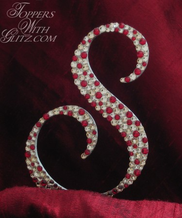 Initial cake topper with Swarovski crystals