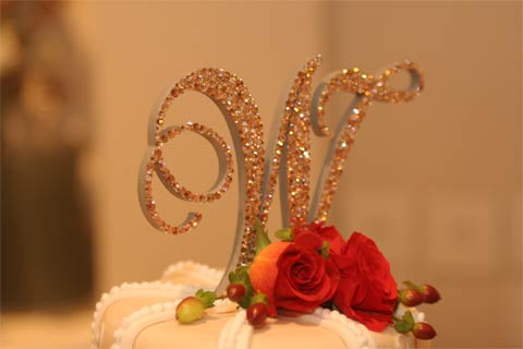 Monogram Wedding Cake Topper using Swarovski crystals Light Colorado Topaz, Silk, Gold Shadow and Peach