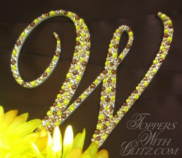 Single letter cake topper using Citrine, Light Colorado Topaz, Light Colorado Topaz AB and Smoked Topaz