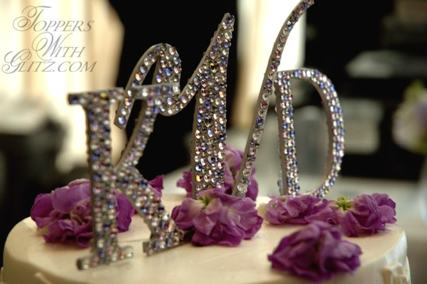 Monogram Cake Topper using crystal colors Black Diamond, Light Amethyst and Tanzanite