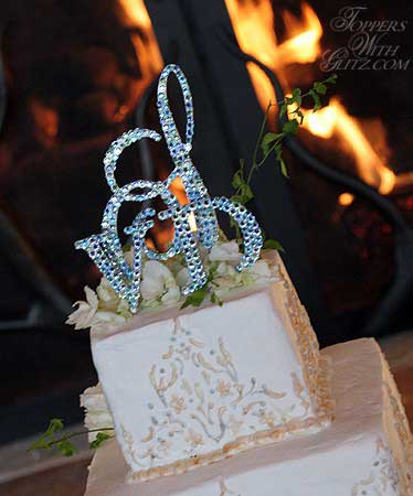 Crystal Monogram Cake Topper using Aqua, Light Sapphire and Chrysolite