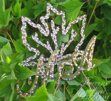 Maple leaf crystal cake topper with monogram