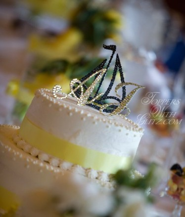 Sailboat cake topper with crystal monogram