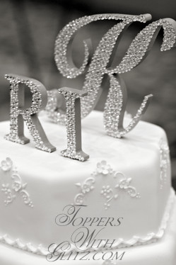 Three letter crystal cake topper